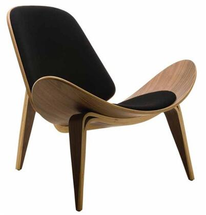 Fine Mod Imports FMI1162 Wooden Shell Chair With Leather Upholstery: