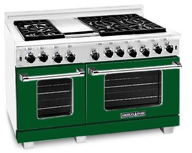 American Range ARR4842GDFG Heritage Classic Series Natural Gas Freestanding Range with Sealed Burner Cooktop, 4.8 cu. ft. Primary Oven Capacity, in Green