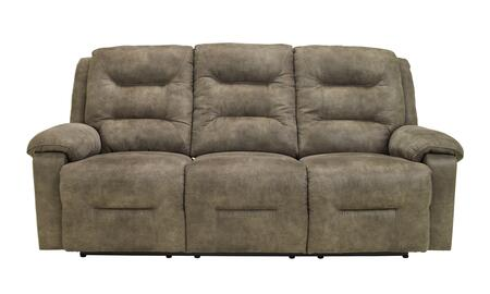 Signature Design by Ashley Rotation 975018X X Reclining Sofa with Divided Back Cushions, Padded Arms and Metal-Drop In Unitized Seat Box in Smoke Color