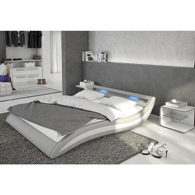 """Ladeso Fort Lee Collection SF-849 86"""" Bed with LED Lights, Low Profile and Leatherette Upholstery in"""