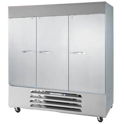 "Beverage-Air FB72 75"" Vista Series Three Section [Solid Door] Reach-In Freezer, 72 cu.ft. Capacity, Stainless Steel Front, Robust Gray Painted Exterior Sides, Aluminum Interior, with Bottom Mounted Compressor"