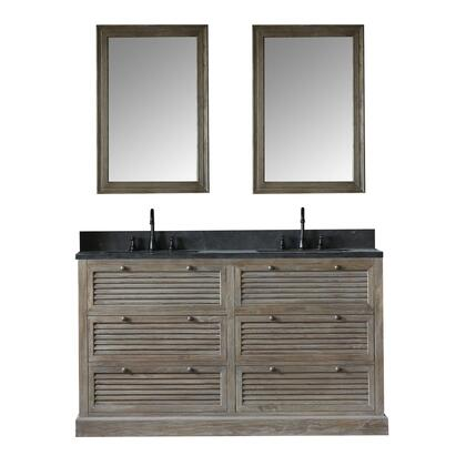 "Legion Furniture WN7260+ 61"" Solid Elm Double Sink Vanity with Mirror, Natural Moon Stone Top, Four Drawers and Oil Rubbed Bronze Faucet in Brushed Natural"