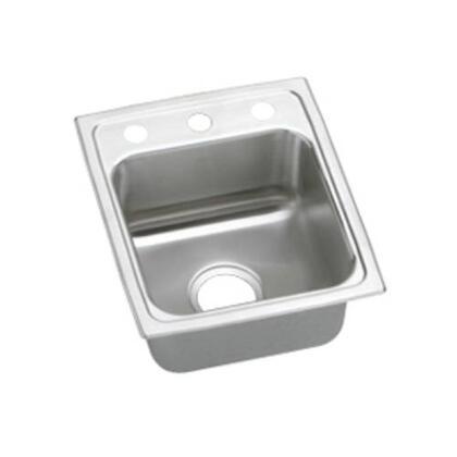 """Elkay LRADQ1517650 15"""" Top Mount Self-Rim Single Bowl ADA Compliant 18-Gauge Stainless Steel Sink With"""