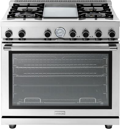 """Tecnogas Superiore RN362G 36"""" NEXT Series Range with Easy to Clean 4 Gas Brass Burner, Gas Convection Oven, And 4 Oven Convection Fans: Stainless Steel"""