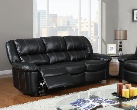 Global Furniture USA U9966BlackS  Reclining Leather Sofa