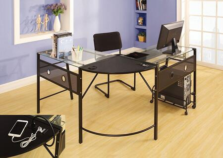 """Acme Furniture Brielle Collection 73"""" Computer Desk with L-Shaped Workstation, 6mm Tempered Clear Glass Top, USB/Power Dock, Pull-Out Metal Keyboard Tray and Metal Tower Cart in"""