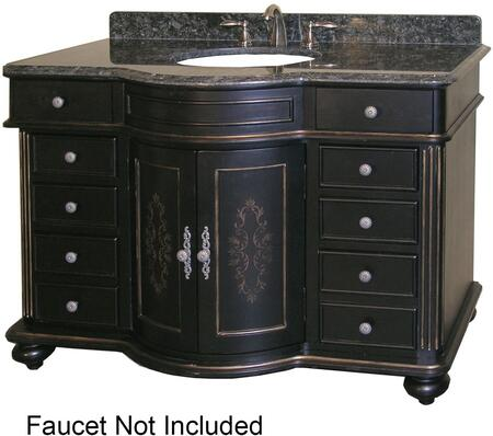 "Kaco Arlington Collection 5300-4800-1025 48"" Vanity with 2 Doors, 10 Drawers and Fluted Pilasters in Ebony Finish with X Top"