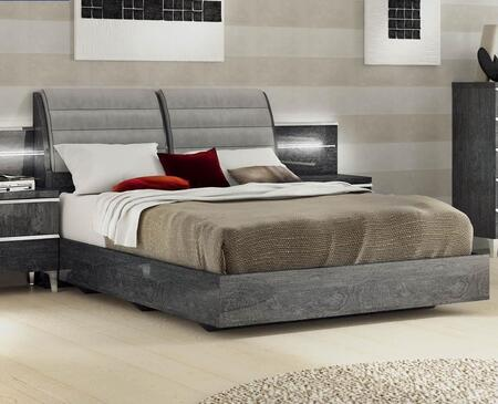 ESF Elite Collection Panel Bed with Low Profile, Made in Italy and Microfiber Upholstered Headboard