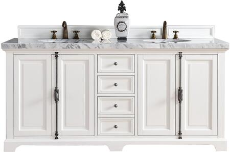 """James Martin Providence Collection 238-105-V72-CWH- 72"""" Cottage White Double Vanity with Plantation Style Hardware, Four Soft Close Doors, Three Soft Close Drawers and"""