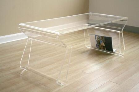 Wholesale Interiors FAY-9948- Acrylic Coffee Table with Magazine Rack