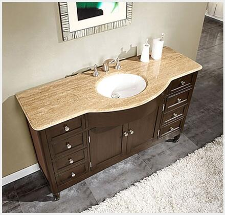 """Silkroad Exclusive HYP-0717-X-UWC-58 58"""" Single Sink Cabinet with 9 Drawers, 2 Doors, Top and Undermount White Ceramic Sink (3-Hole) in Espresso Finish"""