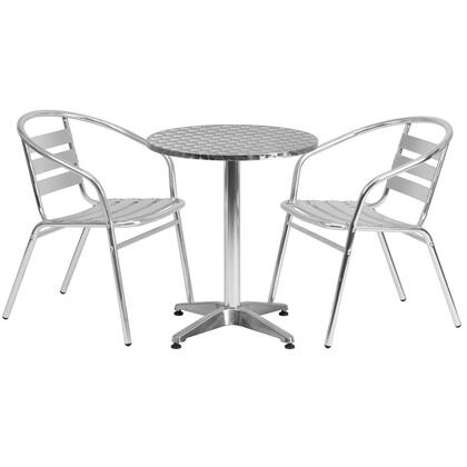"""Flash Furniture TLH-ALUM-24RD-017BCHR-GG 23.5"""" Round Aluminum Indoor-Outdoor Table with Slat Back Chairs"""