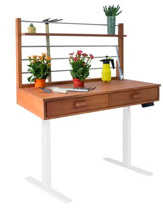 """Vifah 55"""" - 82"""" Sit to Stand Potting Bench with 2 Drawers, 1 Top Shelf, Adjustable Height, Powder Coating Steel Frame and Eucalyptus Hardwood Top in Natural Wood Finish"""