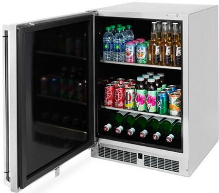"Lynx LM24BFx 24"" Professional Series Outdoor Beverage Center with 2 Removable Shelves, Blue LED Lighting, Door Alarm and Digital Readout, in Stainless Steel with"