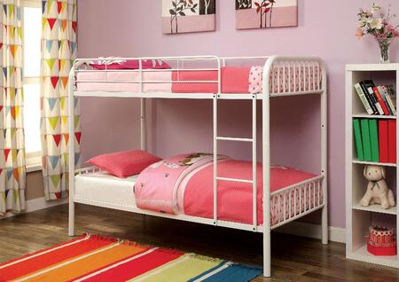 Furniture of America Rainbow Collection Twin Size Bunk Bed with Non-Recycled Heavy Gauge Tubing, Improved Rail Reinforcement and Metal Construction in
