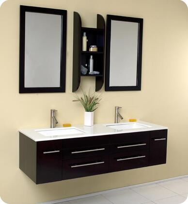 """Fresca Bellezza Collection FVN6119 60"""" Modern Double Sink Bathroom Vanity with 2 Mirrors, 2 Soft Closing Doors and 4 Soft Closing Drawers in"""
