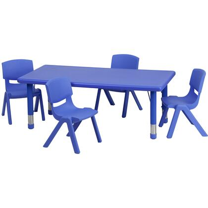 "Flash Furniture YU-YCX-0013-2-RECT-TBL-X-R-GG 24""W x 48""L Adjustable Rectangular Plastic Activity Table Set with 4 School Stack Chairs"