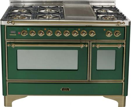Ilve UM120FMPVSY Majestic Series Dual Fuel Freestanding Range with Sealed Burner Cooktop, 2.8 cu. ft. Primary Oven Capacity, Warming in Green