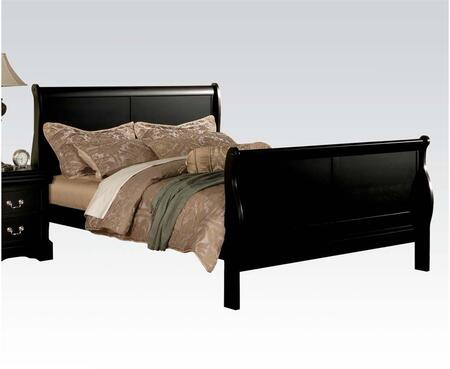 Acme Furniture 19494 Louis Philippe III King Sleigh Bed with Curved Headboard/Footboard, Solid Wood and Wood Veneer Construction in Black