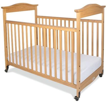 "Foundations Biltmore Series 1812XXX 55"" Clearview Fixed-Side Crib with Mortise and Tenon Construction, Adjustable in Two Heights, Casters and Safesupport Solid Steel Frame"