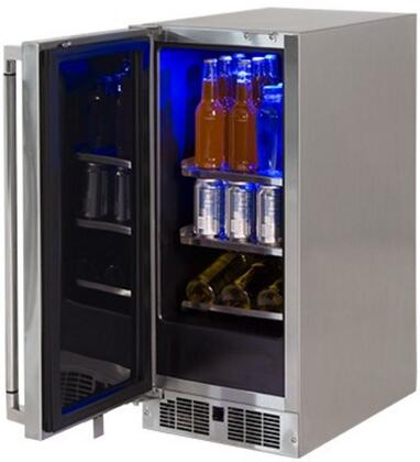 "Lynx LM15REFx 15"" Professional Series Outdoor Compact Refrigerator with 2.73 cu. ft. Capacity, Energy Star Rated, Door Lock, Blue LED Interior Light and Door Alarm, in Stainless Steel with"