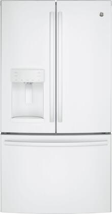 """GE GFE26G 36"""" Energy Star, ADA Compliant French Door Refrigerator with 25.8 cu. ft. Capacity, Twin Chill Evaporators, Water and Ice Dispenser, Frost Guard and Showcase LED Lighting:"""