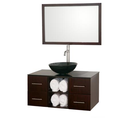 "Wyndham Collection WCSB90036ES 36"" Single Wall Mount Vanity with 4 Soft-Close Drawers, Open Storage, Brushed Nickel Hardware, and Matching Mirror in Espresso Finish"