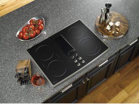 "GE Profile PP989 30"" Smoothtop Electric Downdraft Cooktop with 400 CFM, 3-Speed Fan, 4 Ribbon Heating Elements, Bridge Element, Hot Surface Indicators and Control Lock Capability"