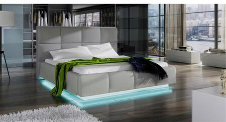 Ladeso Asti Collection SF858X Bed with Leatherette, LED Lights, Lift Storage and Tall Wide Tufted Headrest