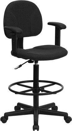 "Flash Furniture BT-659-XX-ARMS-GG 26"" Fabric Ergonomic Drafting Stool with Arms, Two Seat Height Ranges with Gas Cylinder Height Extenders, Height Adjustable Foot Ring, and Heavy Duty Nylon Base"