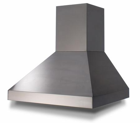 BlueStar BSPCX240TS Wall Mount Pyramid Chimney Range Hood with 3 Speed Fan, Baffle Filters, and Hidden Control Knobs (Blowers Sold Separately)