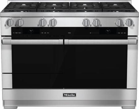 "Miele HR1954D 48"" Pro-Style Dual Fuel Range with 8 Sealed M Pro Dual Stacked Burners, TwinPower Convection Fan Oven, Self-Clean, 21 Operating Modes, Warming Drawer, and ComfortSwivel Handle in"