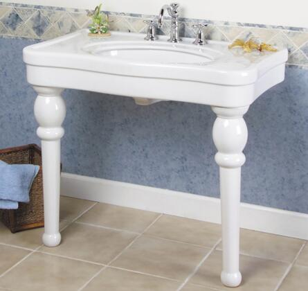 """Versailles 42"""" Console Sink: White; In Position mounted in a bathroom"""