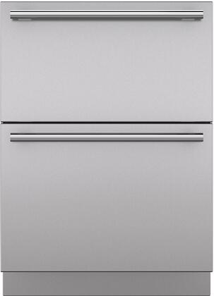 """Sub-Zero 7025 Set of 2 Drawer Panels with Handle and Toe Kick for 24"""" Refrigerator Drawers, in Stainless Steel"""