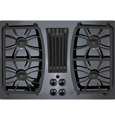 "GE Profile PGP9830 30"" Gas Downdraft Cooktop with 4 Sealed Burners, Gas on Glass Cooktop, 11000 BTU All-Purpose Burner, Dishwasher Safe Grates and Knobs in"