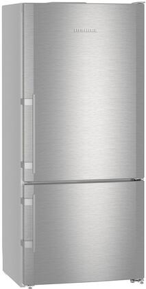 "Liebherr CS140RIM 30"" Energy Star Rated Freestanding Bottom Freezer Refrigerator with 12.8 cu. ft. Total Capacity, Ice Maker, DuoCooling, and 3 Glass Refrigerator Shelves, in Stainless Steel"