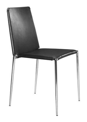 Zuo 101105 Alex Series Modern Faux Leather Metal Frame Dining Room Chair