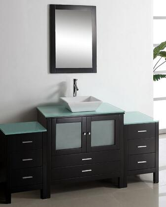 "Virtu USA Brentford 71"" MS-4471-x-ES Single Sink Bathroom Vanity in Espresso Finish with x Countertop, Matching Framed Mirror, 2 Doors, 8 Doweled Drawers and Brushed Nickel Hardware"