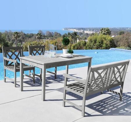 Vifah Renaissance V1297SET2 PC Outdoor Dining Set with Rectangle Table, 4-Foot Bench, Armchairs, Acacia and Hand-Scraped Hardwood Materials in Grey Color