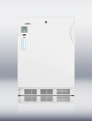 """Summit FF7LBIMEDX 24"""" Medically & Commercially Approved Compact Refrigerator with 5.5 cu. ft. Capacity, Factory Installed Lock, Alarm with Temperature Display and Adjustable Thermostat in White"""