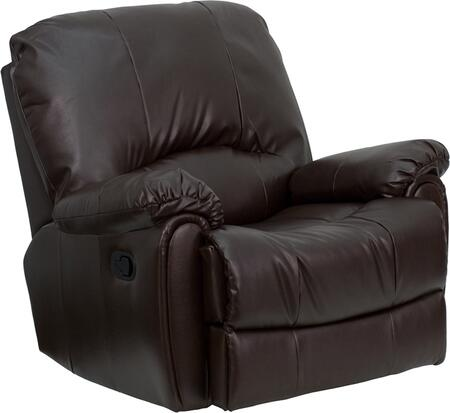 Flash Furniture HU2503BRNGG Contemporary Bonded Leather Wood Frame Rocking Recliners