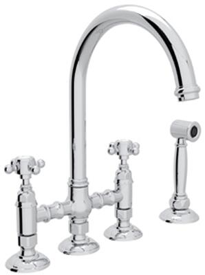 "Rohl A1461XMWS-2 Italian Country Kitchen Collection Deck Mounted C-Spout Bridge Kitchen Faucet with Sidespray, 8"" Reach, 1.5 GPM Water Flow and Cross Handles in"