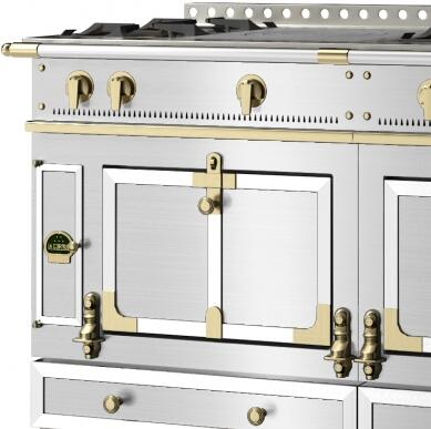 La Cornue Brushed Stainless Steel and Brass Accent