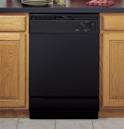 """Hotpoint HDA2100VBB 24"""" 2100 Series Built In Full Console Dishwasher with 5 Wash Cycles 12 Place Settings Hard Food Disposer  Appliances Connection"""
