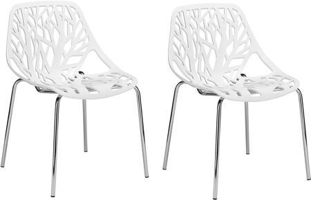 EdgeMod EM148WHIX2 Birds Nest Series Modern Metal Frame Dining Room Chair