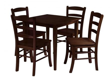 Winsome 94X3X Groveland Square Dining Table with Chairs in Antique Walnut Finish
