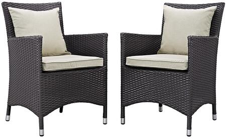 Modway Convene Collection 2 PC Outdoor Patio Dining Set with Fabric Cushions, Water Resistant, Powder Coated Aluminum Frame and Synthetic Rattan Weave in Espresso