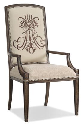 "Hooker Furniture Rhapsody Series 5070-754 46"" Traditional-Style Dining Room Insignia Chair with Nail Head Accents, Tapered Legs and Fabric Upholstery in Beige"