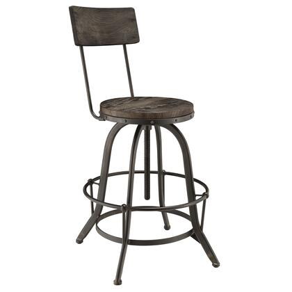 Modway EEI-1212 Procure Wood Bar Stool with Modern Industrial Design, Tapered Metal Legs, Root Ring, and Stained Pine Wood Construction