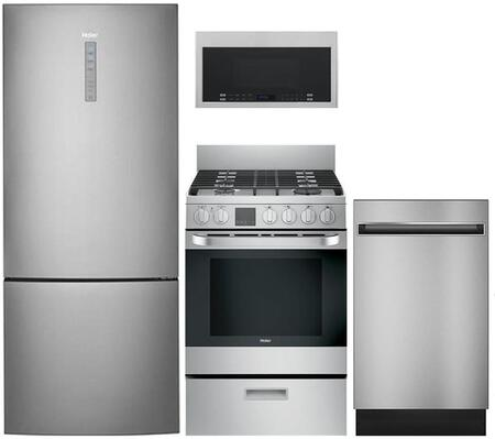 Haier 892832 4 Piece Stainless Steel Kitchen Liances Package